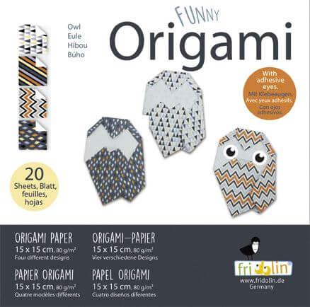 fridolin - Funny Origami Eulen, 20 Blätter, 15cm x 15cm
