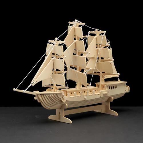 PEBARO Holzbausatz Segelschiff 80 Teile