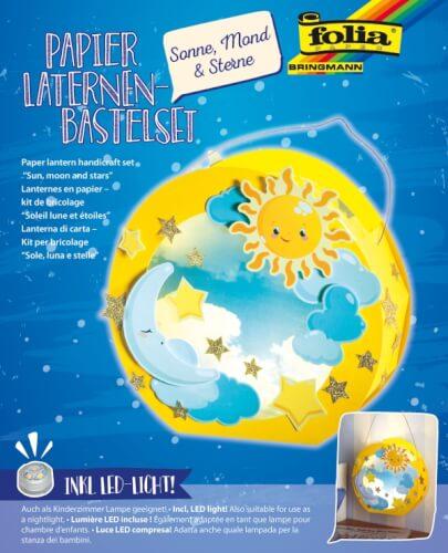 Papier Laternen-Bastelset Sonne, Mond, Sterne