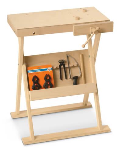 PEBARO Werkbank aus Holz klappbar mit Zubehör