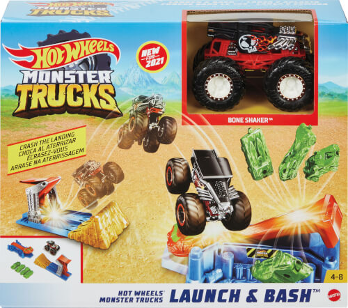 Mattel GVK08 Hot Wheels Monster Trucks Startrampen-Crash