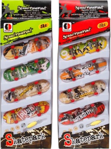 4er-Pack Fingerskateboard, inkl. Ersatzreifen und Werkzeug