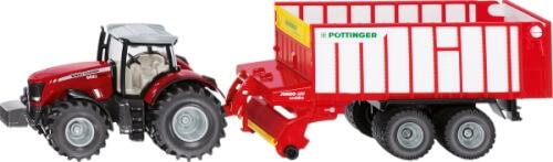 SIKU 1987 FARMER - Massey Ferguson Traktor mit Pöttinger Jumbo, 1:50, ab 3 Jahre