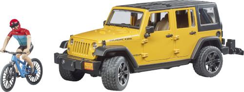 Bruder 2543 Jeep Wrangler Rubicon Unlimited mit 1 Mountainbike und Radfahrer
