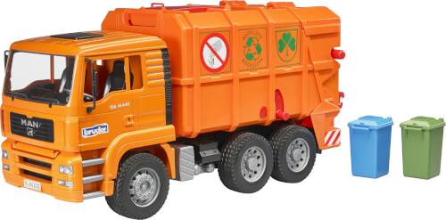 Bruder 02760 MAN TGA Müll-LKW orange, ab 3 Jahren, Maße: 51,5 x 17,5 x 24 cm, Kunststoff
