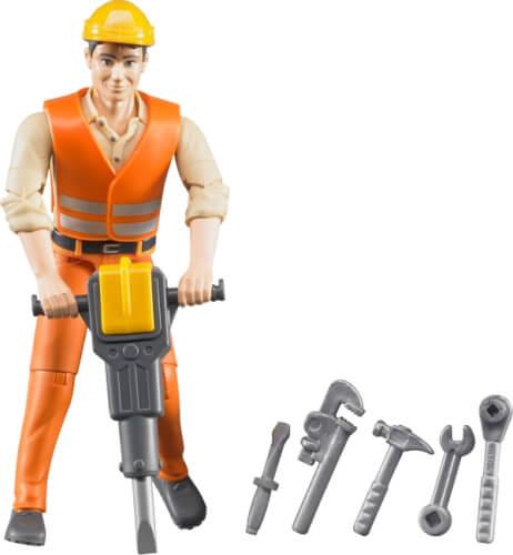 Bruder 60020 Bauarbeiter mit Zubehör, ab 3 Jahren, Maße: 10,8 x 2,5 x 5,1 cm, Kunststoff