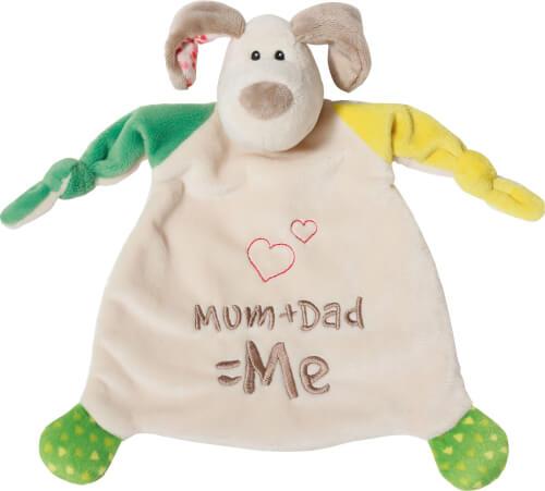 NICI Schmusetuch Hund Mum+Dad=Me