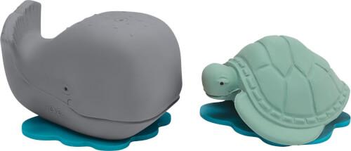 Hevea Geschenkset Badespielzeug Naturkautschuk Ingolf der Wal & Dagmar die Schildkröte - Grey & Mint