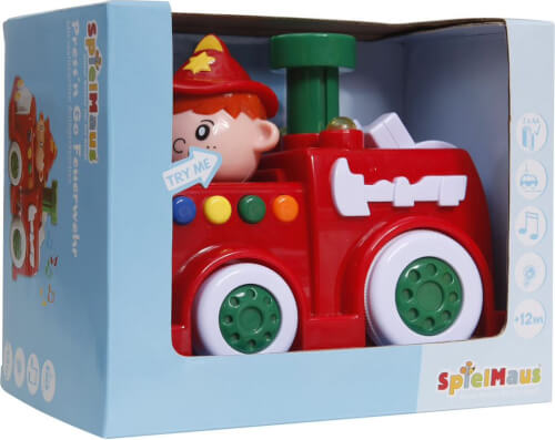 SpielMaus Baby Press & Go Feuerwehr mit Licht und Sound, 630 g, ca. 19,5x11,6x15 cm, ab 12 Monaten