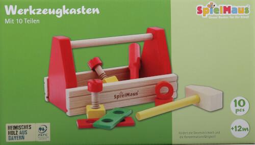 SpielMaus Holz Werkzeugkasten, 10-teilig, Made in Germany