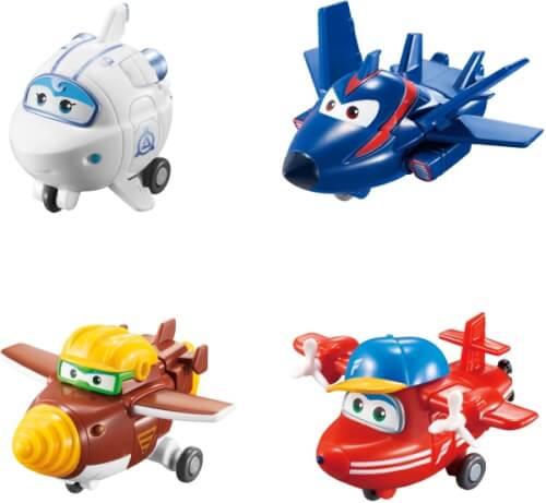 Super Wings # 4er-Set Mini Transform Flugzeuge