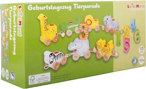 SpielMaus Holz Geburtstagszug Tierparade, 13-teilig