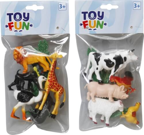 Toy Fun Wild-und Bauernhoftiere, 2-fach sortiert