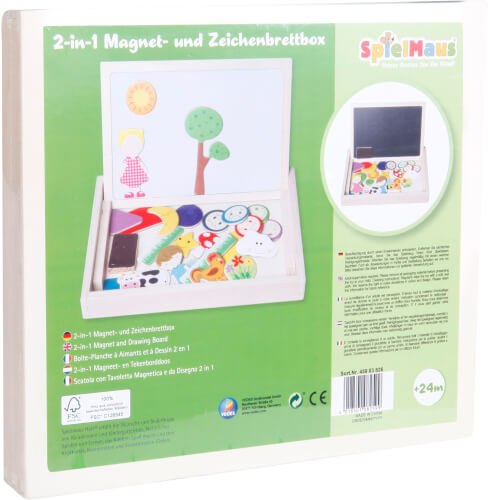 SpielMaus Holz 2in1 Magnet-und Zeichenbrettbox