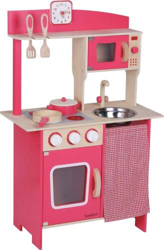 SpielMaus Holz Holzküche rot, mit Zubehör, 5-teilig, Kaufläden & Zubehör, ca. 55x30x86,8 cm, ab 3 Jahren