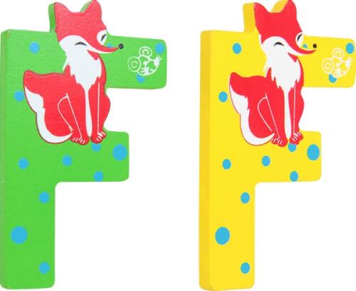 SpielMaus Holz Buchstabe F, 2-fach sortiert, Dekoartikel, ca. 6x7,5x0,6 cm, ab 3 Jahren (nicht frei wählbar)