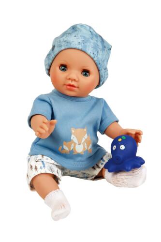 Schildkröt Puppe Sunny 30 cm mit Malhaar und blauen Schlafaugen, Kleidung Mäuschen in weiss/blau
