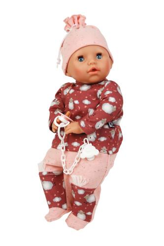 Schildkröt Baby Amy 45 cm mit Schnuller, Malhaar, blaue Schlafaugen, Schäfchenoverall rot/rose