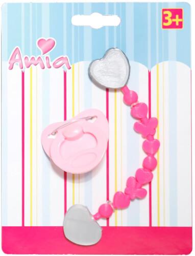 Amia Puppenschnuller mit Kette, rosa