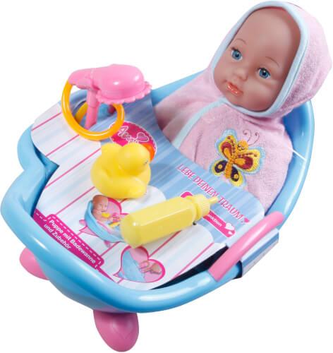 Amia Puppenbadewanne mit Funktion, inklusive Puppe