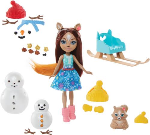 Mattel GNP16 Enchantimals Schneemann Deko-Spaß Spielset mit Sharlotte Squirrel & Walnut