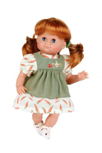 Schildkröt Puppe Schlummerle 32 cm rote Haare, blaue Schlafaugen, Möhrenkleid in oliv/weiss