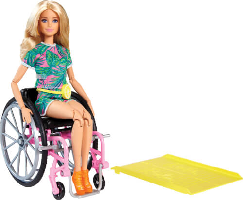 Mattel GRB93 Barbie Fashionistas Barbie Puppe (blond) mit Rollstuhl