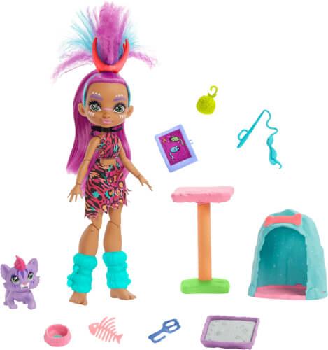 Mattel GNL95 Cave Club Wilder Katzenspaß mit Roaralai Spielset & Puppe