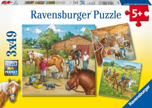 Ravensburger 09237 Puzzle Mein Reiterhof 3 x 49 Teile