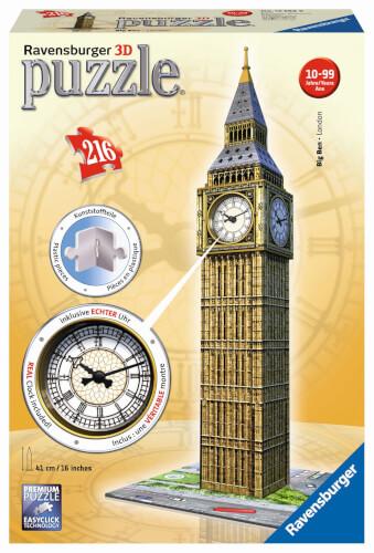 Ravensburger 12586 Puzzle 3D Big Ben mit Uhr 216 Teile