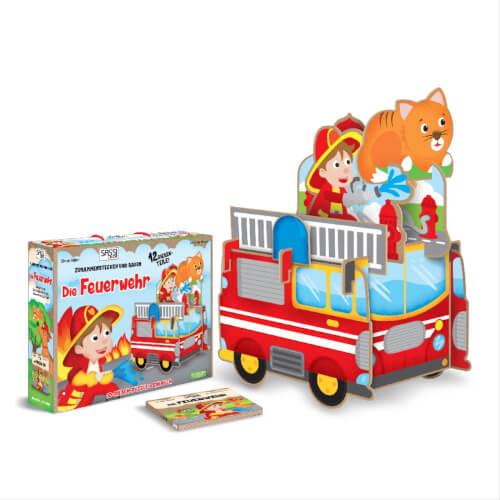 Puzzle 3D Riesenpuzzle Feuerwehr 12 Teile inklusive Begleitbuch