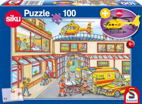 Schmidt Spiele Puzzle Rettungshubschrauber 100 Teile mit siku Rettungshubschrauber