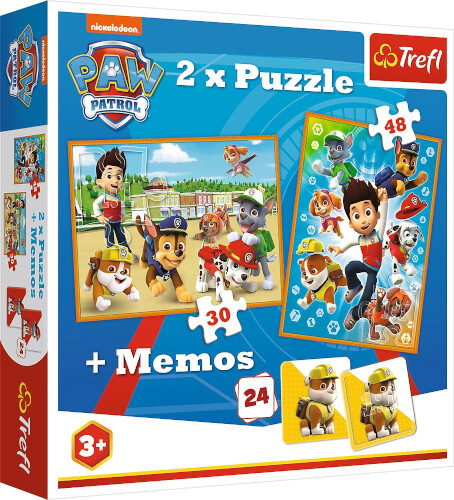 2in1 Puzzles (30 Teile und 48 Teile) + Memo # PAW Patrol