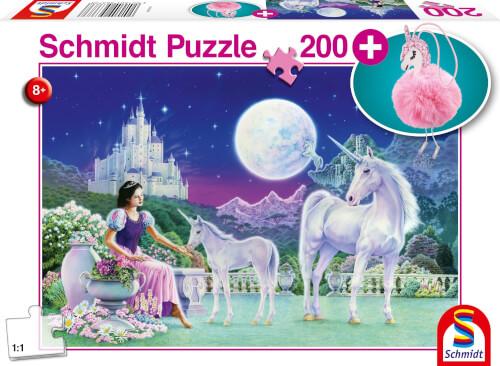 Schmidt Spiele Puzzle Einhorn, mit Add-on (Puschel-Anhänger), 200 Teile