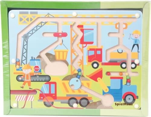 SpielMaus Holz Kugellabyrinth mit Magnetstift
