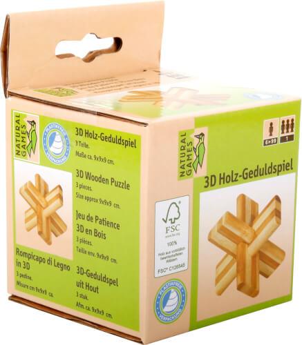Natural Games 3D Holz-Geduldspiel Kreuz