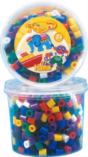 HAMA 8570 Bügelperlen Maxi - Dose Vollton Mix, 600 Perlen, 7 Farben, ab 3 Jahren