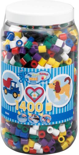 Hama® Bügelperlen Maxi - Vollton Mix 1400 Perlen (6 Farben) in Aufbewahrungsdose