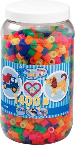 Hama® Bügelperlen Maxi - Neon Mix 1400 Perlen (6 Farben) in Aufbewahrungsdose