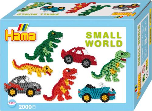 Hama® Bügelperlen Midi - Geschenkpackung kleine Welt Dinosaurier & Auto blau 2000