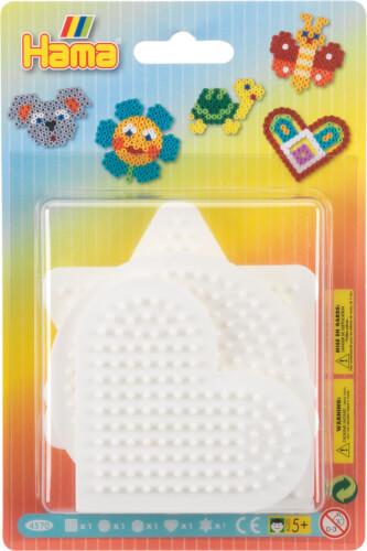 Hama® Bügelperlen Blister 5 Stiftplatten Stern, Herz, Kreis, Quadrat, Sechseck