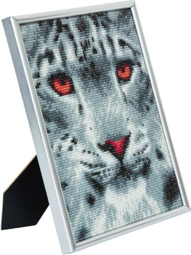 Crystal Art Bilderrahmen Schneeleopard 21x25 cm
