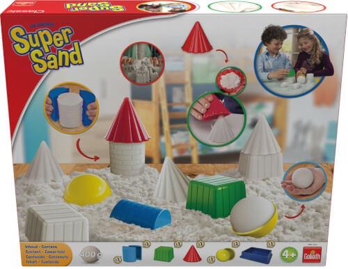 Mit dem Super Sand Classic Set lassen sich aus 400g Super Sand coole Figuren bauen. Enthält 400g Super Sand und 3 versch