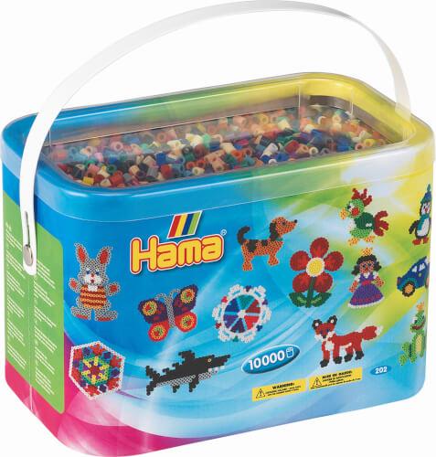 Hama® Bügelperlen Midi - Perleneimer Vollton Mix 10000 Perlen (22 Farben)
