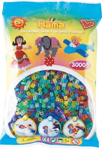 Hama® Bügelperlen Midi - Transparent Glitter 3000 Perlen