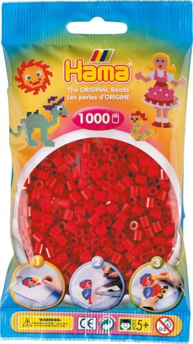 HAMA 207-22 Bügelperlen Midi - Mittelrot 1000 Perlen, ab 5 Jahren