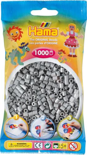 HAMA 207-17 Bügelperlen Midi, grau, 1.000 Stück, ab 5 Jahren