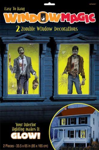 2 Fensterbilder Zombie 85 x 165 cm