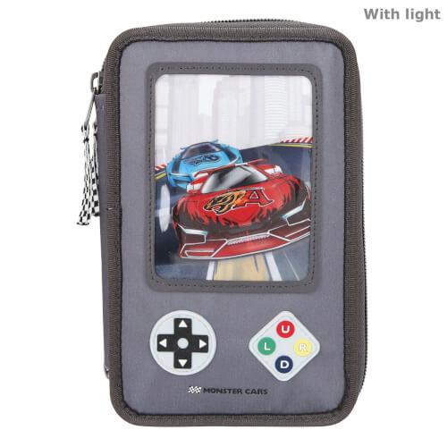 Monster Cars 3-Fach Federtasche LED Game