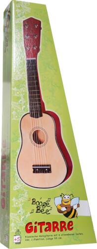 Boogie Bee Holzgitarre mit 6 Saiten, ca. 55 cm, Kinderinstrument, ab 5 Jahren